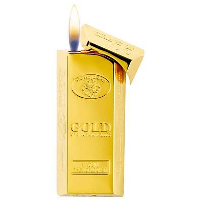 Feuerzeug Goldbarren, goldfarben