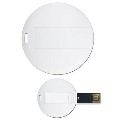 USB-Stick Round Card, 16 GB, weiß