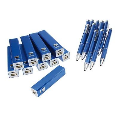 Werbe-Sparset: Powerbank 2.200 mAh, Touch-Kugelschreiber, 50-tlg., inkl. Gravur, blaue Mine, blau