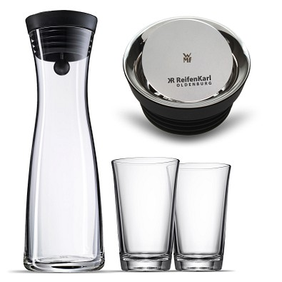 WMF Wasserkaraffe Basic mit 2 Gläer, 3-tlg., transparent