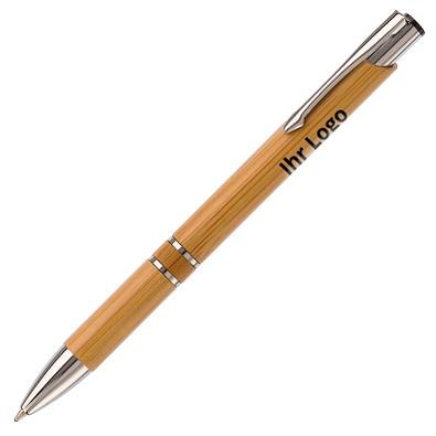 Bambus-Druckkugelschreiber Bamboo IV, blaue Mine, braun