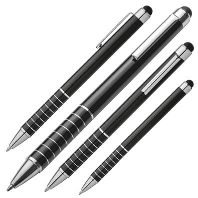 Metall-Touch-Kugelschreiber Elegance, blaue Mine, schwarz