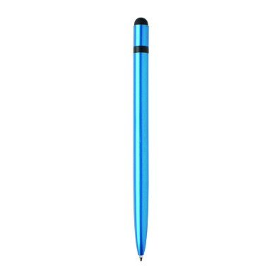 XD COLLECTION Schlanker Aluminium-Drehkugelschreiber, blaue Mine, hellblau