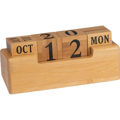 Schreibtischkalender aus Bambus, beige
