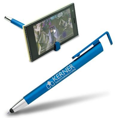 Touch-Kugelschreiber mit Handyhalter, blaue Mine, blau-metallic