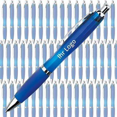 Werbe-Set: 400 Kugelschreiber Rio, inkl. Druck, blaue Mine, blau/transparent